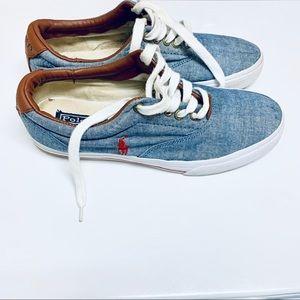 Chambray Polo Ralph Lauren Sneakers sz 9